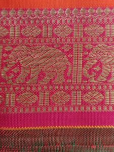 Elephant border on a silk sari at Weave Maya