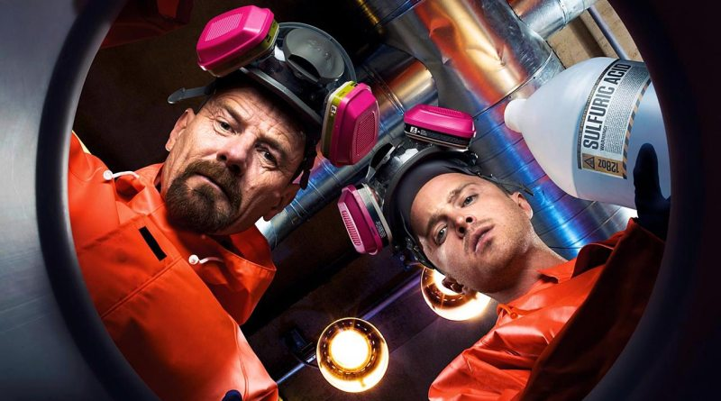 Breaking Bad's Walter and Jesse look down at the viewer
