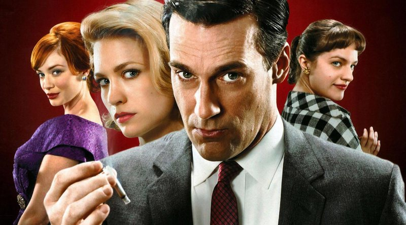Mad Men's Don Draper, flanked by Joan Harris, Betty Draper and Peggy Olsen