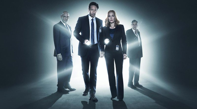 Mulder and Scully from The X-Files flanked by their boss, Skinner and Cigarette Smoking Man