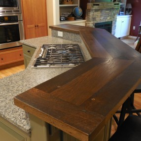 Reclaimed Oak Elevated Island top stained and finished with tung oil