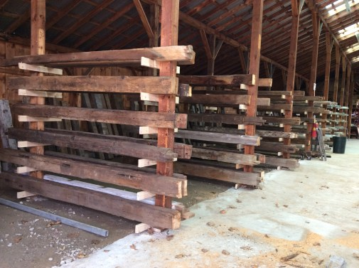 Reclaimed Beams in our Reclaimed Beam and Salvage Annex
