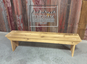 This bench is made from reclaimed softwoods. It is pictured here unfinished but could be stained for a darker finish or with a clear oil finish to bring out its natural patina and age.