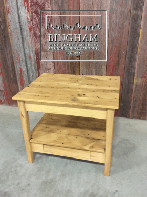 This table is unfinished but is a great size and show such personality and character.