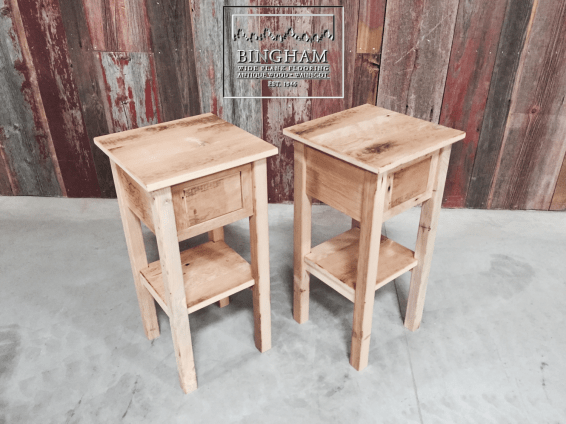 This pair of end tables are made from reclaimed softwood and are both unfinished. These are great little pieces.