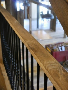 Reclaimed handrails are a great addition to any stairway