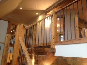 Reclaimed Newel Posts, Chunky Reclaimed Stair Treads and Rustic Oak Handrails