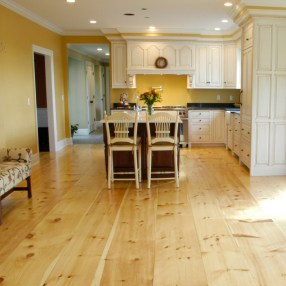 Wide Plank White Pine Flooring in Wide Widths and a Knotty Grade