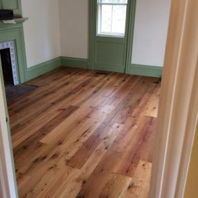 Reclaimed flooring sawn from reclaimed beams