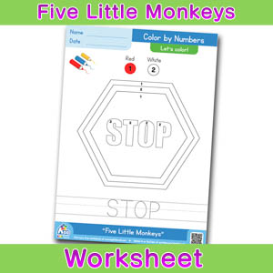 Five Little Monkeys Worksheets Color by numbers