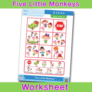 Five Little Monkeys BINGO WORKSHEET