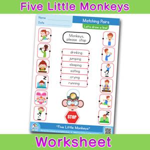 Five Little Monkeys Worksheets BINGOBONGO Matching Time 4