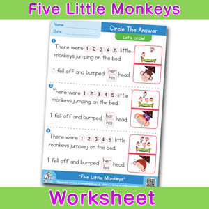 Five Little Monkeys Worksheets BINGOBONGO Circle The Answer