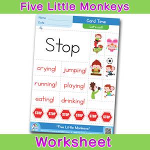 Five Little Monkeys Card Time Worksheets