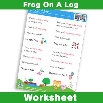 Frog On A Log - Lyric Sheet 1
