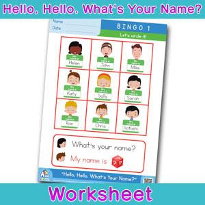 Hello Whats Your Name Worksheet bingo 1