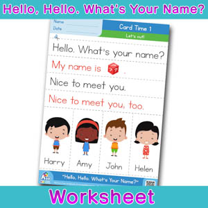 Hello Whats Your Name Worksheet card time 1