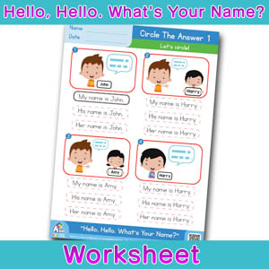 Hello Whats Your Name Worksheet circle the answer 1