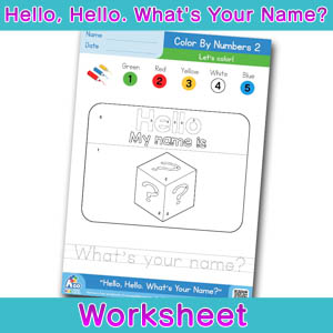 Hello Whats Your Name Worksheet color by numbers 2