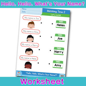 Hello Whats Your Name Worksheet matching time 2