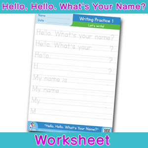 Hello Whats Your Name Worksheet writing practice 1