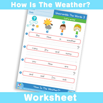 How Is The Weather? Worksheet - Unscramble The Words 3