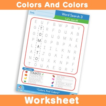 Free Colors And Colors Worksheet - Word Search 3