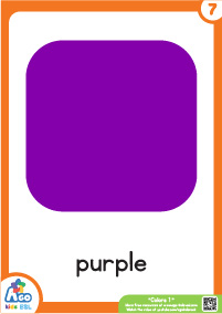 Colors Educational Flashcard Set - Purple