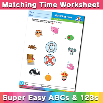 Words that start with O Phonics Matching Time
