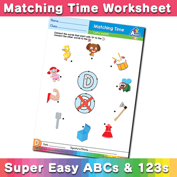 Words that start with D Phonics Matching Time