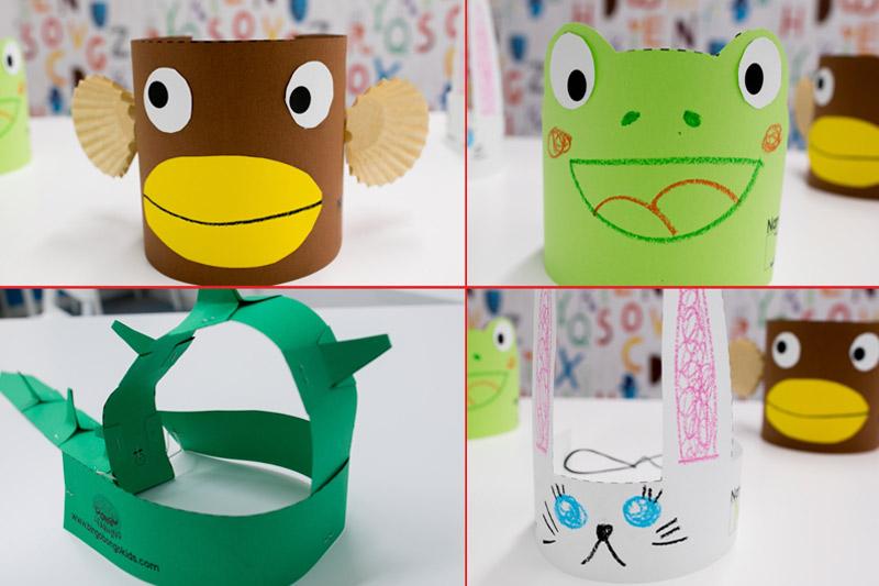 Diy Paper Craft Animal Hats Bunny Frog Monkey Dinosaur Bingobongo