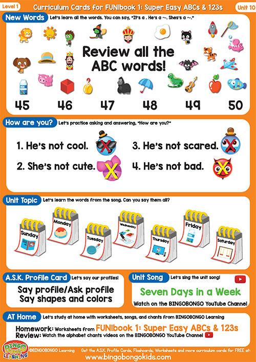 Free Curriculum Card Level 1 Unit 10