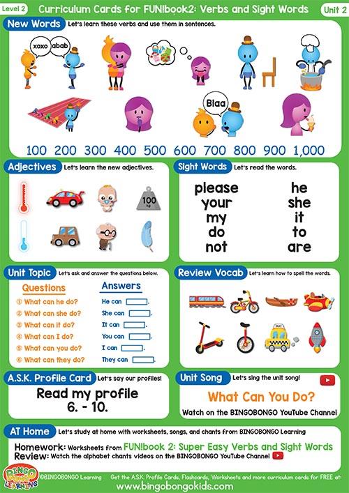 Free Curriculum Card Level 2 Unit 2