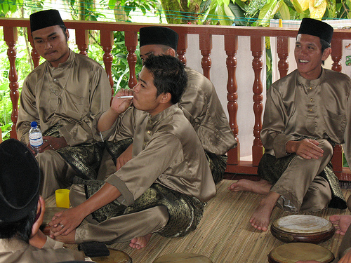 Kompang boys taking a break