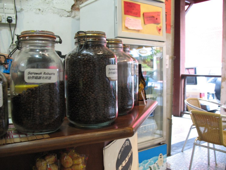 Coffee beans upon the shelf