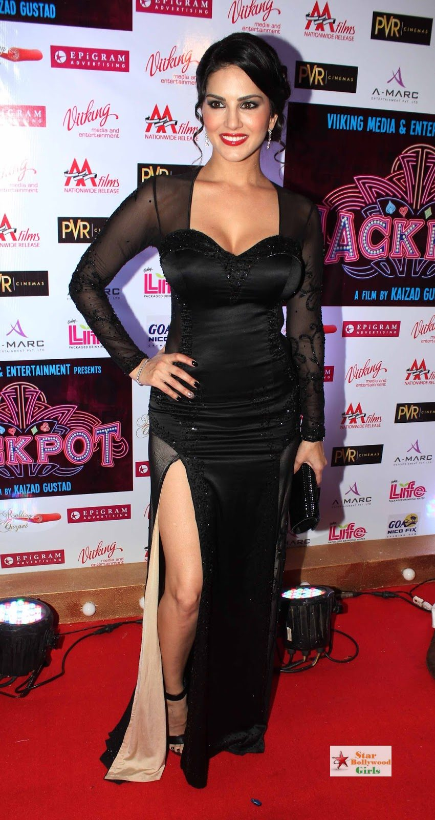 Sunny Leone Hot Skin Show In a Black See-through Dress At PVR Cinemas in Juhu9