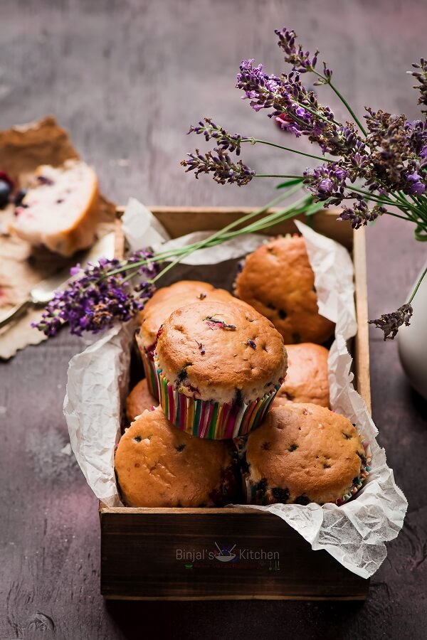 Eggless Lavender Berry Muffins
