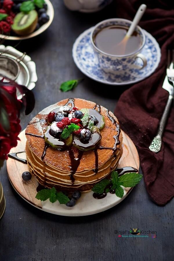 Easy Quick Vegan Cinnamon Pancakes Eggless Binjal S