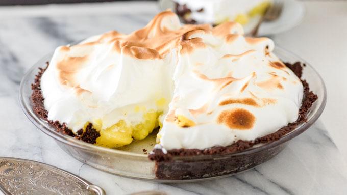 Sliced lemon meringue pie.