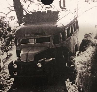 Old image of Binna Burra bus travelling on Binna Burra road