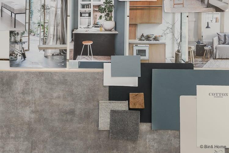 Vloer inspiratie moodboard en kleurtips Douwes Dekker PVC vloer Tibetaanse steen grijs ©BintiHome