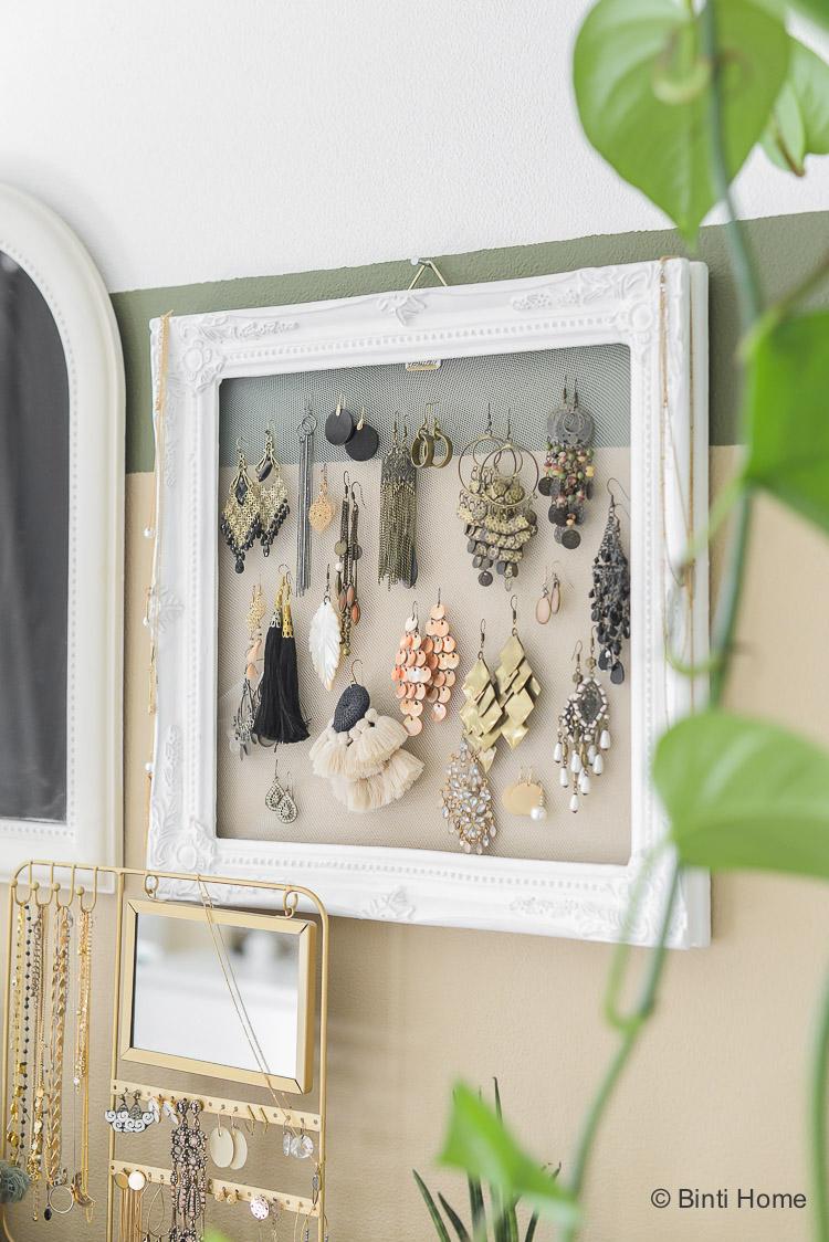 DIY idee Opbergtips voor sieraden in mijn slaapkamer ©BintiHome