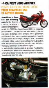 Article du magazine Motomag pompe Facet 40105