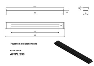 Technical specification of the Kratki 930mm bioethanol fireplace burner