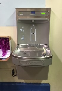 there is also another way to cut down on germs by installing new water fountains these special fountains have a bottle filler section where kids can put