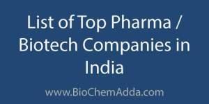 List of Top Pharma Biotech Companies in India | BioChem Adda