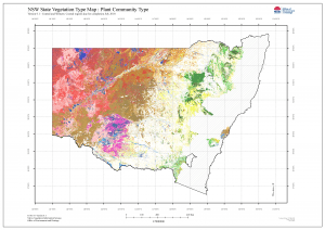 Map of color-coded Plant Community Types, New South Wales Australia.