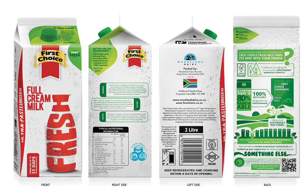 Sudáfrica: láctea lanza al mercado leche envase reciclable