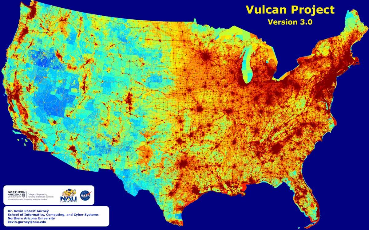 Científico crea un mapa de alta resolución con las emisiones de CO2 de EEUU