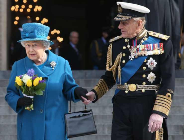 Prince Philip and Queen Elizabeth II depart a Service of Commemoration for troops who were stationed in Afghanistan on March 13, 2015 in London, England